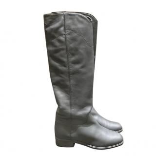 Chanel Grey Leather Classic Knee Boots