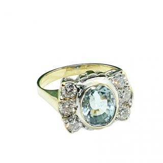 Bespoke 18ct Yellow Gold Vintage Aquamarine Ring