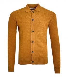 Oliver Spencer Fine Rust Wool Herringbone Cardigan