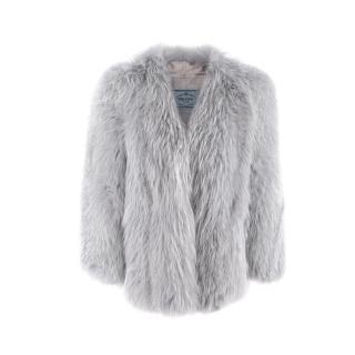 Prada Blue Grey Fox Collarless Chubby Coat