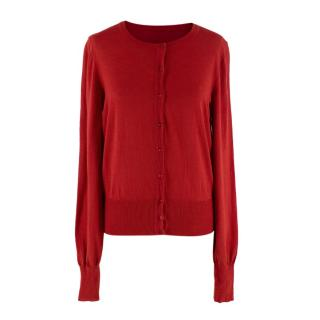 Alaia Cherry Red Fine Wool Knit Round Neck Cardigan