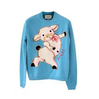 Gucci Piglet Intarsia Turquoise Wool Jumper