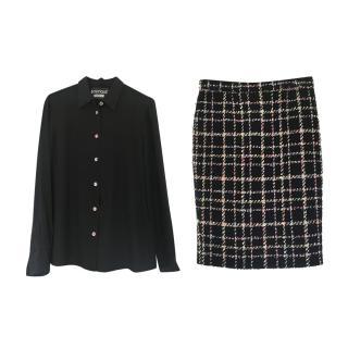 Boutique Moschino Silk Blouse & Tweed Skirt Set