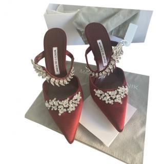 Manolo Blahnik Burgundy Crystal Embellished Lurum Sandals