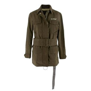 Off-White Utility Khaki Belted Cotton-Blend Jacket