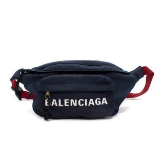 Balenciaga Navy & Red Wheel Logo Belt Bag