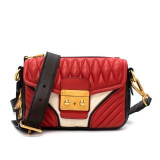 Miu Miu Biker Red & Black Quilted Leather Shoulder Bag