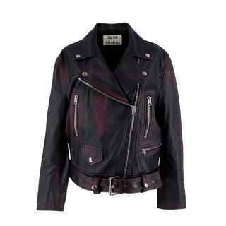 Acne Studios Black & Burgundy Merlyn 2 Tone Leather Jacket