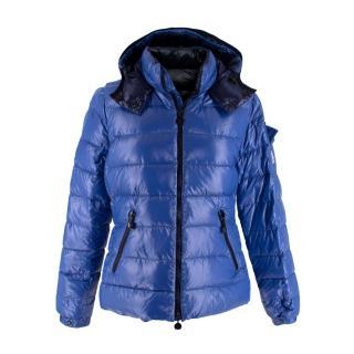 Moncler Bady Royal Blue Lacquered Nylon Down Jacket