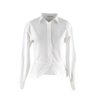 Alaia White Oxford Waffle Peplum Tail Hem Shirt