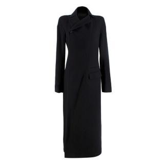 Haider Ackermann Black Wool Asymmetric Single Breasted Long Coat