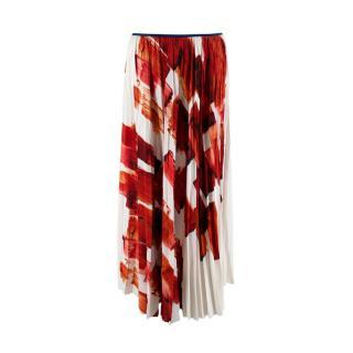 Celine Ivory & Orange Brushstroke Mulberry Silk Plisse Midi Skirt