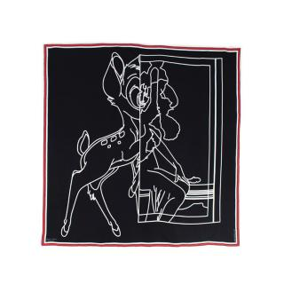 Givenchy Bambi Disney Black & White Print Twill Silk Scarf