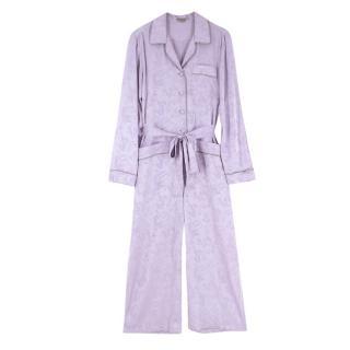 Bottega Veneta Lilac Parme Silk Jacquard Pyjama Jumpsuit