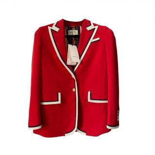Gucci Red Contrast Piped Cady Tailored Jacket