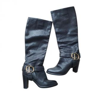 Christian Dior Black Leather Knee Boots