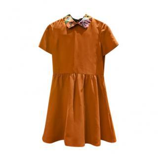 Valentino Orange Wool Contrast Collar Mini Dress