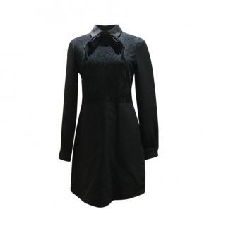 Valentino Black Lace Pussybow Mini Dress