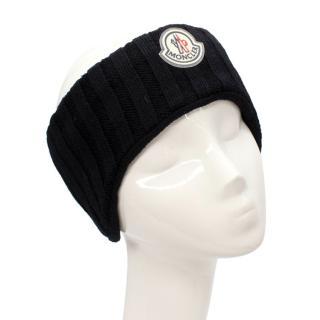 Moncler Black Ribbed Wool Blend Ear Warmer Headband