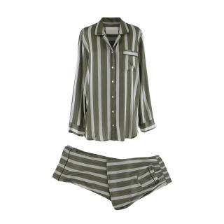 Asceno Olive Green Stripped Silk Pyjama Shirt & Trousers Set