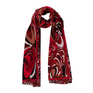Emilio Pucci Red & Black Abstract Pattern Silk Scarf