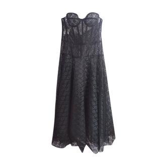 Philosophy Di Lorenzo Serafini Black Floral Lace Strapless Dress