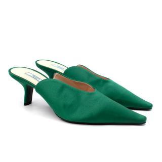 Prada Emerald Green Satin Heeled Mules