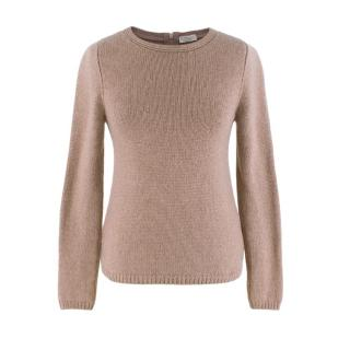 Brunello Cucinelli Oatmeal Knitted Cashmere Zip Detail Sweater