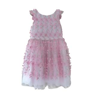 David Charles Pink Butterfly Applique Party Dress