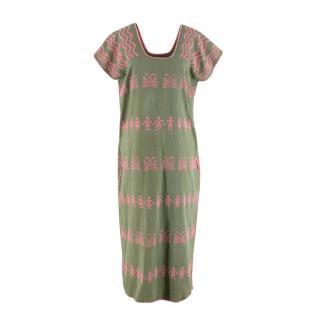 Pippa Holt 153 Khaki Cotton Pink Embroidered Kaftan Dress