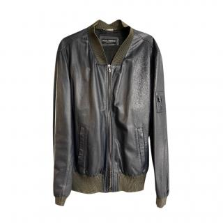 Dolce & Gabbana Navy Leather Bomber Jacket