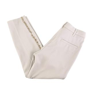 Brunello Cucinelli Ivory Wool Blend Sequin TrimTrousers