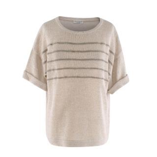 Brunello Cucinelli Cream Cotton Knitted Short Sleeve Sweater