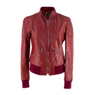 Dolce & Gabbana Red Leather Stand-Collar Biker Jacket