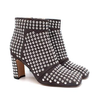Christopher Kane Grey Suede Studded Heeled Ankle Boots