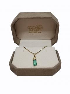 Bespoke 18ct Yellow Gold Raw Emerald Pendant Necklace