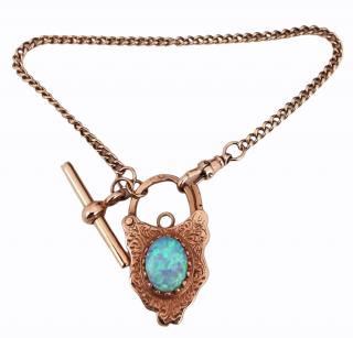 Vintage Victorian Revival large gold padlock bracelet