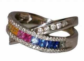 Bespoke rainbow sapphire and diamond ring