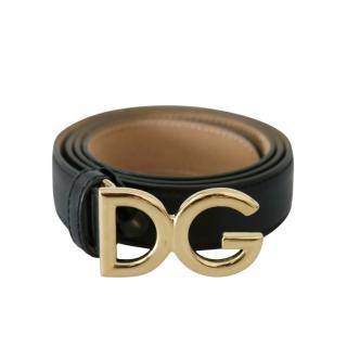 Dolce & Gabbana Black Leather DG Belt - Size 85