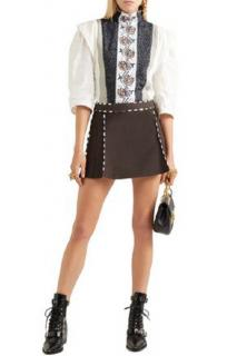 Chloe Embellished Embroidered Linen, Tweed And Canvas Blouse
