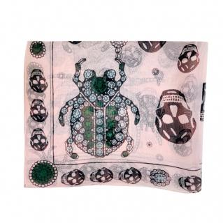 Alexander McQueen Blush Jewelled Skull/Bug Silk Scarf