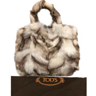 Tod's Fox Fur Leather Trim Tote Bag