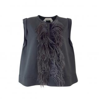 No.21 Black Ostrich Feather Trim Sleeveless Top