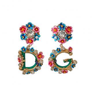 Dolce & Gabbana Floral DG Drop Earrings