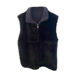 Brunello Cucinelli Blue Rex Rabbit Fur & Cashmere Gilet