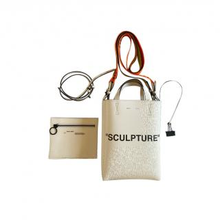 Off White Leather Sculpture White Tote Bag