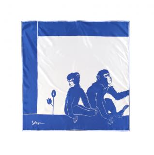 Bottega Veneta Monkey & Tulip Print Blue Silk Scarf 90