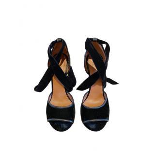Givenchy Pin Heel Velvet Lizard Embossed Ankle Tie Sandals