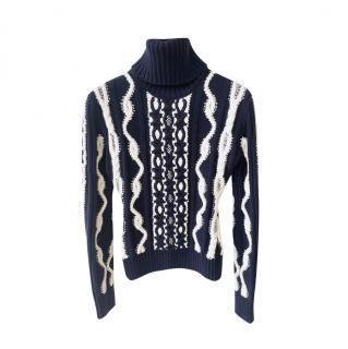 Chanel Paris/Hamburg Navy & Ecru Cable Knit Jumper