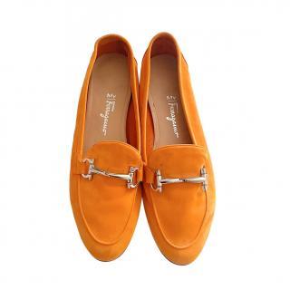 Ferragamo Orange Suede Loafers